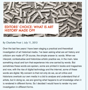 My #arthistory Hashtag Research Makes DHNow's Editor's Choice!